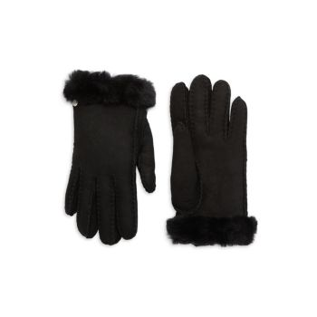 Кожаные перчатки с меховой отделкой UGG