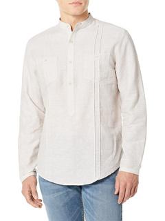Рубашка Guayabera Popover с длинным рукавом и двумя карманами с защипами Cubavera
