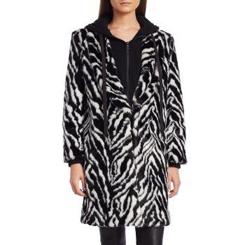 Пальто из искусственного меха с принтом зебры Kylie Alice + Olivia