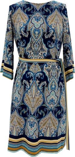 Платье прямого кроя с рукавами-кимоно и пышным поясом Sandra Darren