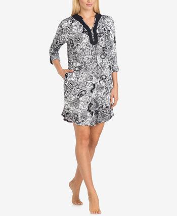 Вязаная ночная рубашка с принтом и разрезом на воротнике Ellen Tracy