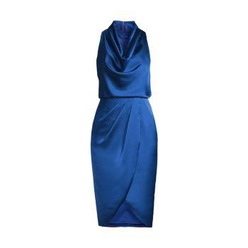 Коктейльное платье с воротником-хомутом Aidan Mattox