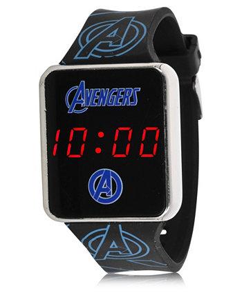 Детские часы Avengers с сенсорным экраном и черным силиконовым ремешком со светодиодной подсветкой, 36 мм x 33 мм ACCUTIME