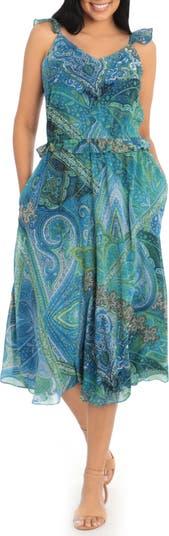 Caravan Paisley Ruffled Sleeveless Midi Dress London Times
