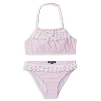 Little Girl's & Girl's 2-Piece Pom-Pom Bikini Set Stella Cove