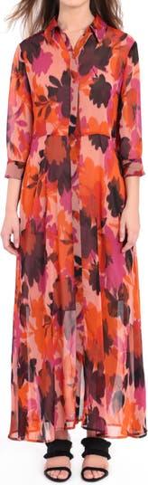 Printed Maxi Shirt Dress Donna Morgan