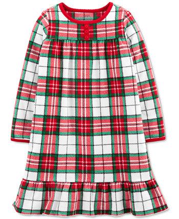 Рождественская клетчатая флисовая ночная рубашка для маленьких и больших девочек Carter's