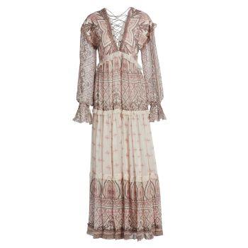 Макси-платье на шнуровке с принтом Noor HEMANT & NANDITA