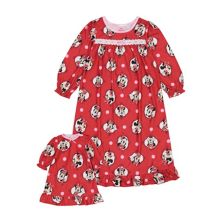 Disney's Minnie Mouse Toddler Girl Fun Dots Night Gown & Doll Gown Set Licensed Character
