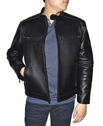 Кожаная мужская мото куртка в стиле ретро Victory Sportswear
