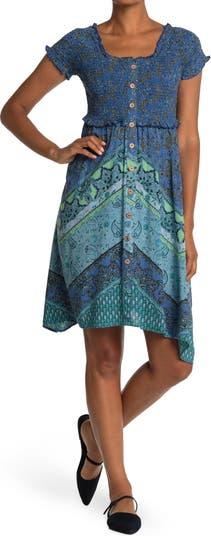 Paisley Smocked Bodice Handkerchief Hem Midi Dress Angie
