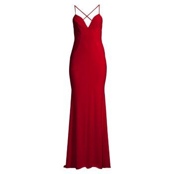 Платье из джерси с отворотом на спине Faviana