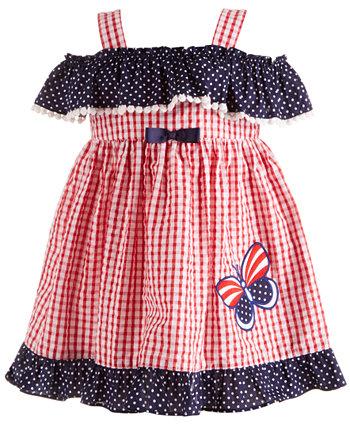 Красное, белое и синее платье из жатого хлопка для маленьких девочек Blueberi Boulevard
