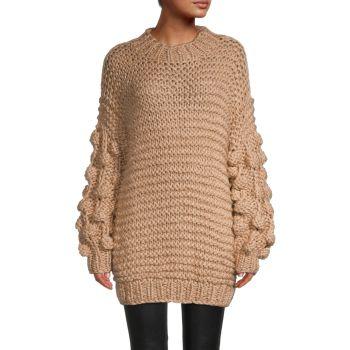 Объемный удлиненный свитер ручной вязки STELLAH