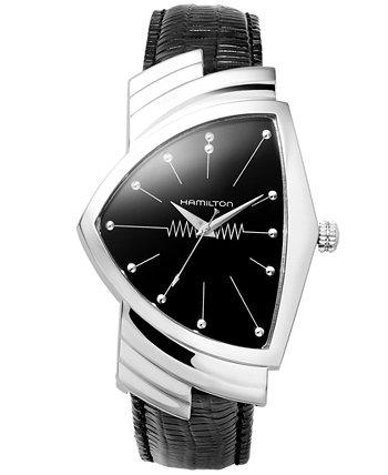 Часы мужские Swiss Ventura с черным кожаным ремешком 27 мм H24411732 Hamilton