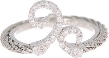 Кольцо с бриллиантом из нержавеющей стали из белого золота 18 карат - Размер 6.5 ALOR