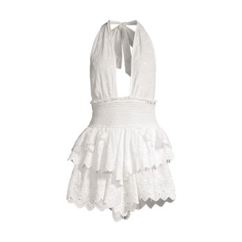 Платье Deanna Eyelet на бретельках LOVESHACKFANCY