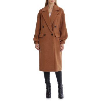 Двубортное пальто из твила с короткими рукавами Avec Les Filles