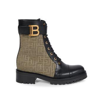 Кожаные армейские ботинки Ranger Romy из плотной ткани с монограммой Balmain