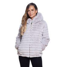 Women's Gallery Hooded Grooved Faux-Fur Jacket Gallery