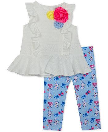 Baby Girls 2-Pc. Туника с прорезями и леггинсы с цветочным принтом Rare Editions