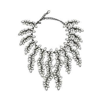Black Enamel & Crystal Leaf Waterfall Choker Necklace Kenneth Jay Lane