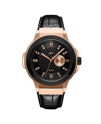 Мужские часы Saxon Diamond (1/6 кар. Т. Вес) из 18-каратного двухцветного розового золота с черными часами из нержавеющей стали 48 мм JBW