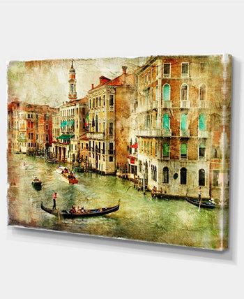 """Designart Vintage Venice Цифровое искусство Пейзаж Печать на холсте - 32 """"X 16"""" Design Art"""