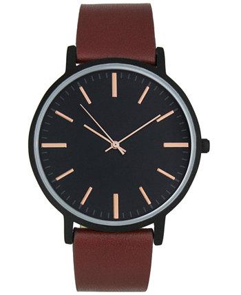 Мужские часы с коричневым ремешком из искусственной кожи 42 мм, созданные для Macy's INC International Concepts