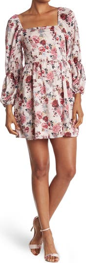Мини-платье с цветочным принтом и квадратным вырезом NSR