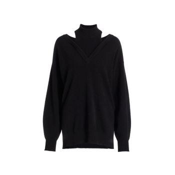 Кашемировый свитер с высоким воротом и вырезом NAADAM