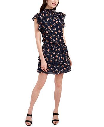 Платье со сборками и развевающимися рукавами 1.STATE