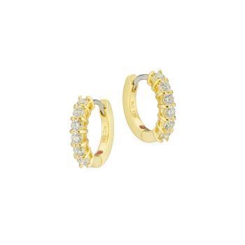 Желтое золото 18 карат с бриллиантами и бриллиантами; Серьги-кольца Ruby Huggie Roberto Coin