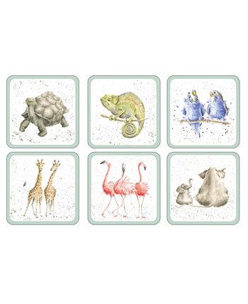 Зоологические подстаканники - набор из 6 шт. Wrendale Designs