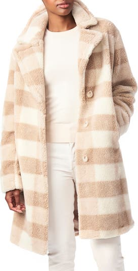 Check Teddy Faux Fur Coat Bernardo