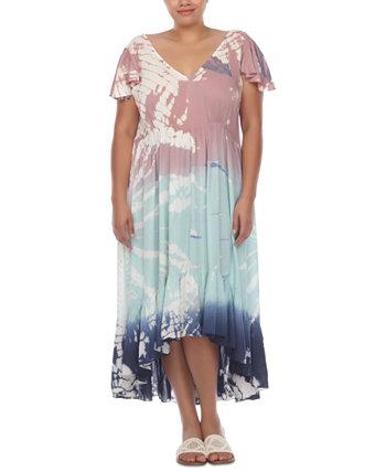 Платье больших размеров с короткими рукавами с принтом тай-дай и высоким воротником, прикрытие Raviya