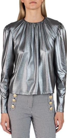 Блузка Kary с длинными рукавами и металлизированным рисунком DEREK LAM