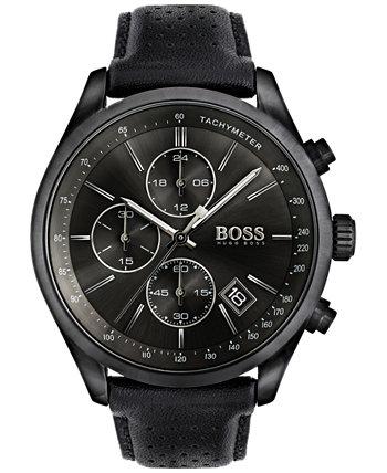 Мужские часы с хронографом Hugo Boss Grand Prix с черным кожаным ремешком 44 мм 1513474 HUGO BOSS