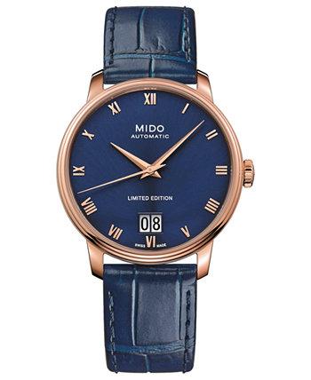 Мужской швейцарский автоматический Baroncelli Limited Edition синий кожаный ремешок 40 мм MIDO