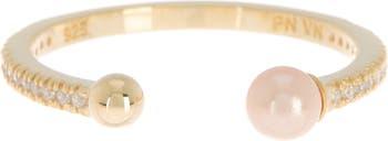 Стерлинговое серебро с покрытием из желтого золота 585 пробы, белое циркониевое кольцо, 4 мм, персик, жемчуг, открытое кольцо Paige Novick
