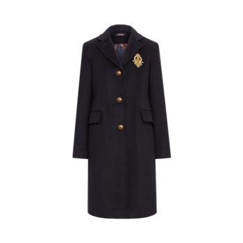 Пальто из смесовой шерсти с нашивкой-гербом Ralph Lauren