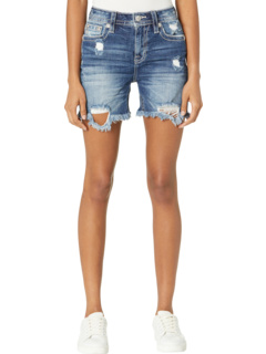 Heaven Wing M Logo Embroidered High-Rise Mid-Shorts in Medium Blue Miss Me