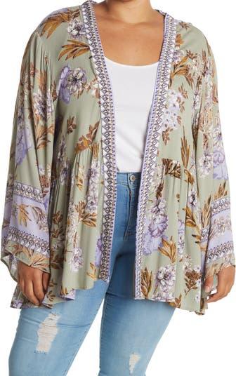 Floral Print Long Sleeve Kimono SKY AND SAND