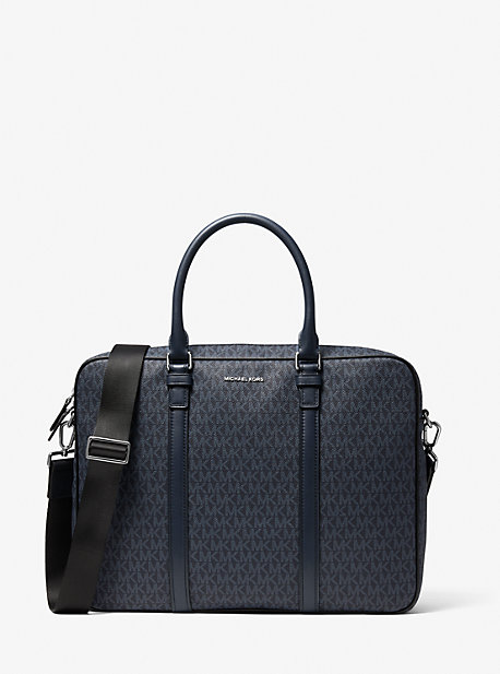 Hudson Logo and Leather Briefcase Michael Kors
