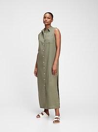 Макси-платье-рубашка из льна и хлопка Gap