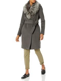 Sasha Wool Wrap Coat With Real Fur Collar Elie Tahari