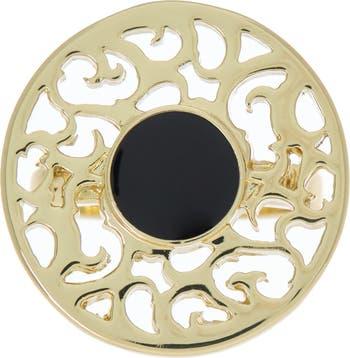 Позолоченное 14-каратное золото круглое кольцо с филигранным вырезом Covet