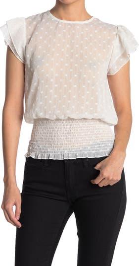 Блуза со сборками в швейцарский горошек Everleigh