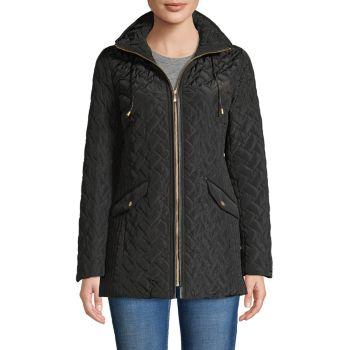 Стеганое пальто с капюшоном COLE HAAN SIGNATURE