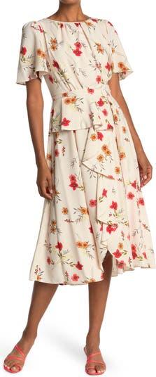 Flutter Sleeve Ruffle Midi Dress Gabby Skye